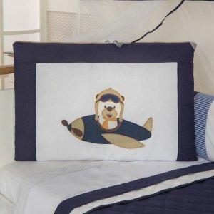 Kit Mini Berço Menino Trança Ursinho Aviador Azul Marinho 10Peças