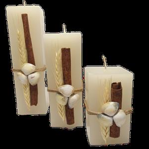 Conjunto com 3 velas quadradas decorada conchas