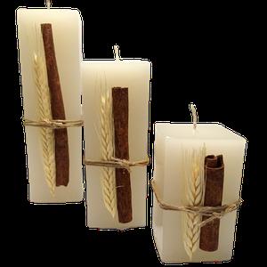 Conjunto com 3 Velas Quadradas Decorada Canela e Trigo
