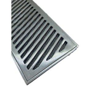 Grelha Ralo Linear Reforçado 20x50 modelo Diagonal com Tela Anti Insetos - Aluminio - Ficone Reis