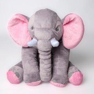 Almofada Elefante Cinza Com Rosa Pelúcia 60 Cm