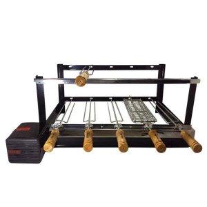 Grill Giratório Pintura Eletrostática Kit 620 Alto 5 Espetos