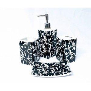 Kit De Banheiro Em Cerâmica C/ 4 Pçs Floral P&b - Preto