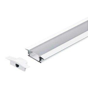 Perfil Embutir Slim Alumínio 24.5x7mm 2 Metros Para Fita LED