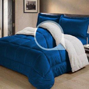 Coberdrom Dupla Face Casal Queen Tipo Pele de Carneiro Fique em Casa Fique Confortavel Cotex Azul