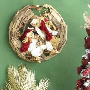 Guirlanda Sagrada Família Vermelha 50cm   Linha Natal Encantado Formosinha