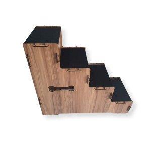 Escada Pet Mdf Com Tapete Antiderrapante. 60 cm Altura cor Amadeirado