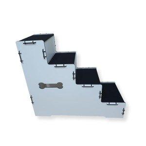 Escada Pet Cachorros Em Mdf Com 4 Degraus- 60cm Altura - Cor Branco