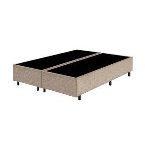 Base Box Queen Bipartido Santo Box Suede Bege 40x158x198