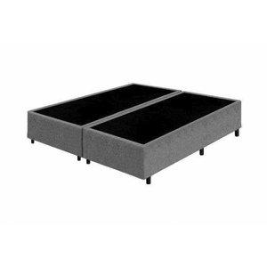 Base Box Queen Bipartido Santo Box Suede Cinza 40x158x198