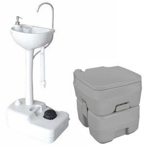 Pia Portátil com Reservatório + Vaso Sanitário Banheiro Químico 20L Nautika