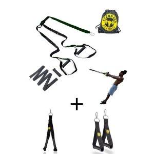 Fita de suspensao - Argola - Completa + Puxador Crossover + Puxador Tríceps - Verde