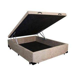 Base Box Baú Casal A colchões Suede Bege 41x138x188