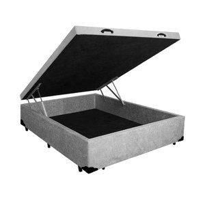 Base Box Baú Casal A colchões Suede Cinza 41x138x188
