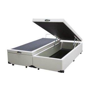 Base Box Baú Casal Bipartido A colchões Sintético Branco 41x138x188