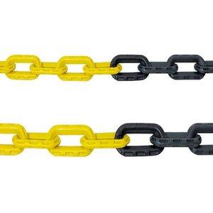 Corrente para Sinalização Plástica Amarelo e Preto 20 metros Pequena