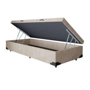 Base Box Baú Solteiro A colchões Suede Bege 41x88x188