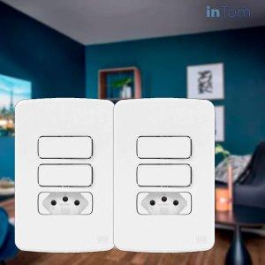 "2 Conjuntos C/ Interruptor Simples, Paralelo, Tomada 10 A - 4x2"" Weg Branco Composé"