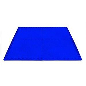 Tatame EVA 52x52cm - 10mm - 4 peças + 8 Bordas - Azul