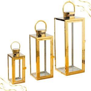 Kit C/3 Lanternas Marroquinas Decorativa Dourada Metal