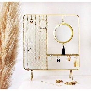 Espelho De Mesa Decoração Porta Joia Tam Gd Rose Gold Ou Dourado - Dourado