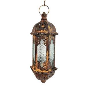 Lanterna Marroquina Decorativa Ouro Velho Pendurar 37x15cm