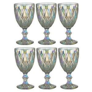 Conjunto de Taças para Vinho 325ML Diamond Rainbow 6 Peças LYOR 7864