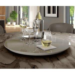 Prato Giratório Decorativo 50cm Off White com Tampo de Vidro - Off White - 50cm