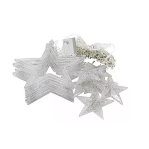 Cascata Estrela 138 Leds Chaveado 127V Branco Frio