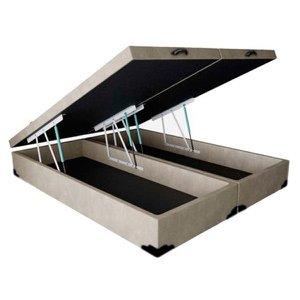 Base Box Baú Blindado King Bipartido AColchoes Suede Bege 41x193x203