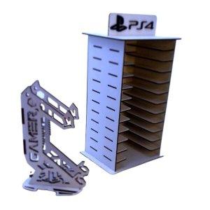 Porta 11 Jogos + Porta Controle Controle Ps4 Gamer Mdf