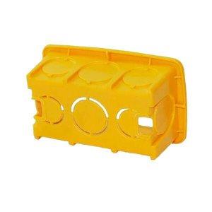 Kit 100 Caixa Luz Plástica Retangular Amarela 4x2 Reforçada
