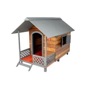 Casinha Casa de Cachorro Madeira Grande com Varanda Dog House