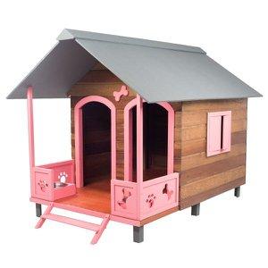 Casinha Casa de Cachorro Madeira Grande Dupla com Varanda Dog House