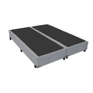 Base Cama Box Bipartido King Size Corino Cinza 40x193x203