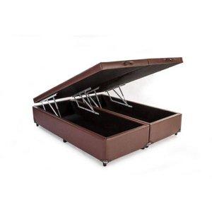 Base Cama Box Baú Bipartido King Size Corino Marrom 43x193x203