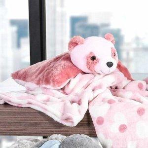 Manta com Almofada Urso Bene Casa Baby Microfibra Rosa