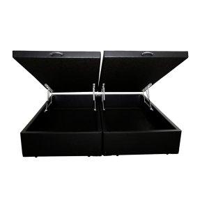 Base Box Baú King Bipartido Agnaldo Camas Sintético Preto 40x192x203