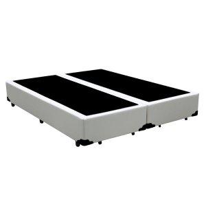 Base Box King Bipartido Agnaldo Camas Sintético Branco 40x192x203