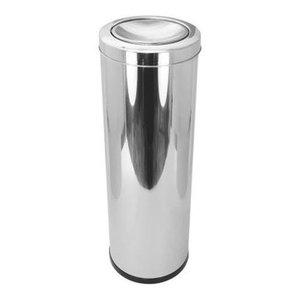 Lixeira Aço Inox Com Tampa Basculante Vai E Vem 30 Litros:Inox