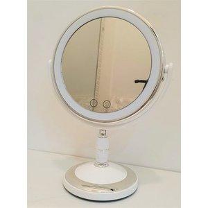 Espelho 5x C Led Aumento Mesa Lente Maquiagem Barbear Luz:Dourado Rose