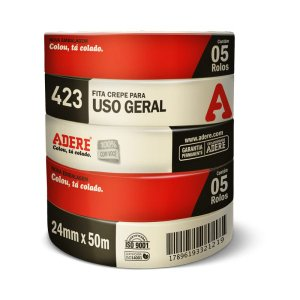FITA CREPE USO GERAL 24MMX50M - KIT COM 5 ADERE