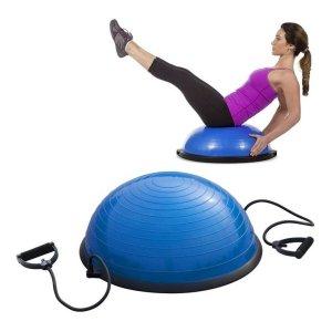 Meia Bola Com Bomba E Alças Extensor Mbfit Fitness Yoga