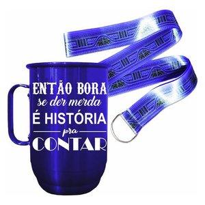 Caneca Alumínio 850ml Então Bora É História + Tirante Cetim:Azul