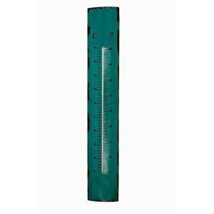 Termômetro Em Metal Azul Oldway 100x17x5cm