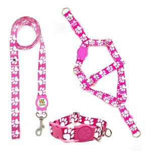 Conjunto coleira,peitoral e guia para cachorro - Tamanho Grande - Modelo Pata Rosa