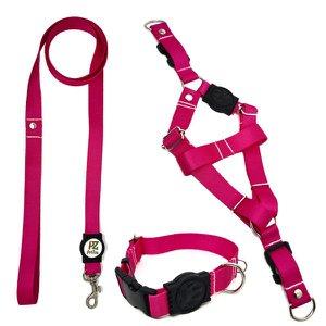 Conjunto coleira,peitoral e guia para cachorro - Tamanho Grande - Modelo Pink