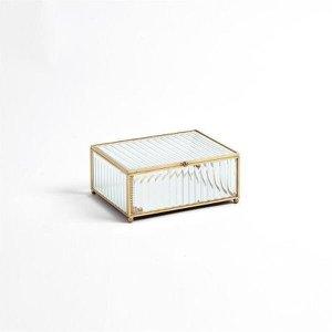 Porta Joias de Vidro e Metal Dourado - M