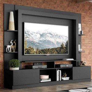 """Rack Estante c/ Painel TV 65"""" e 2 portas Oslo Multimóveis Preto"""