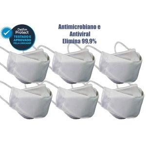 Kit 6 Máscaras De Proteção 3D Antiviral DelfimProtect® Branca